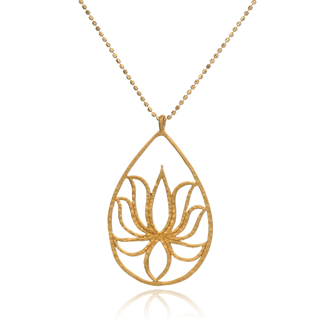 Gold Lotus Necklace - Teardrop Lotus - Satya Online
