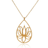 Gold Lotus Necklace - Teardrop Lotus - Satya Jewelry