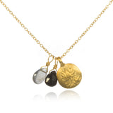Gold Onyx & Labradorite Lotus Necklace - After the Storm - Satya Jewelry
