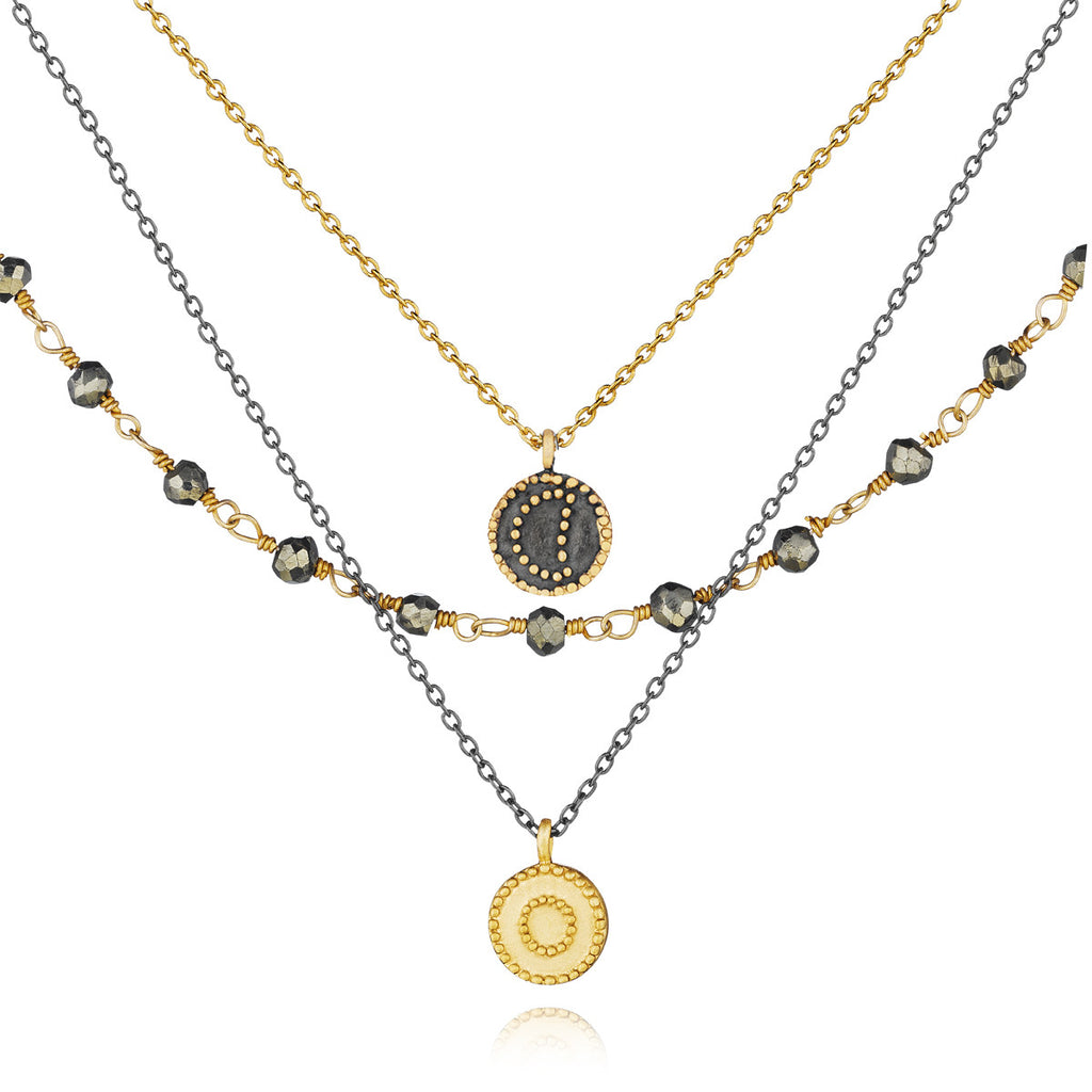 Gunmetal And Gold Pyrite Celestial Triple Strand Necklace - Great Heights - Satya Jewelry
