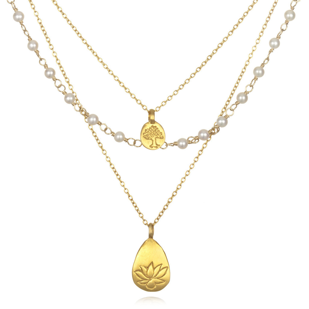 Gold Pearl Tree And Lotus Thrive Necklace - Satya Jewelry