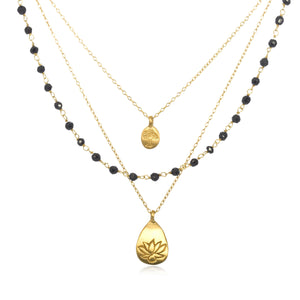 Gold Onyx Tree And Lotus Thrive Necklace - Satya Online