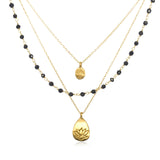 Gold Onyx Tree And Lotus Thrive Necklace - Satya Jewelry