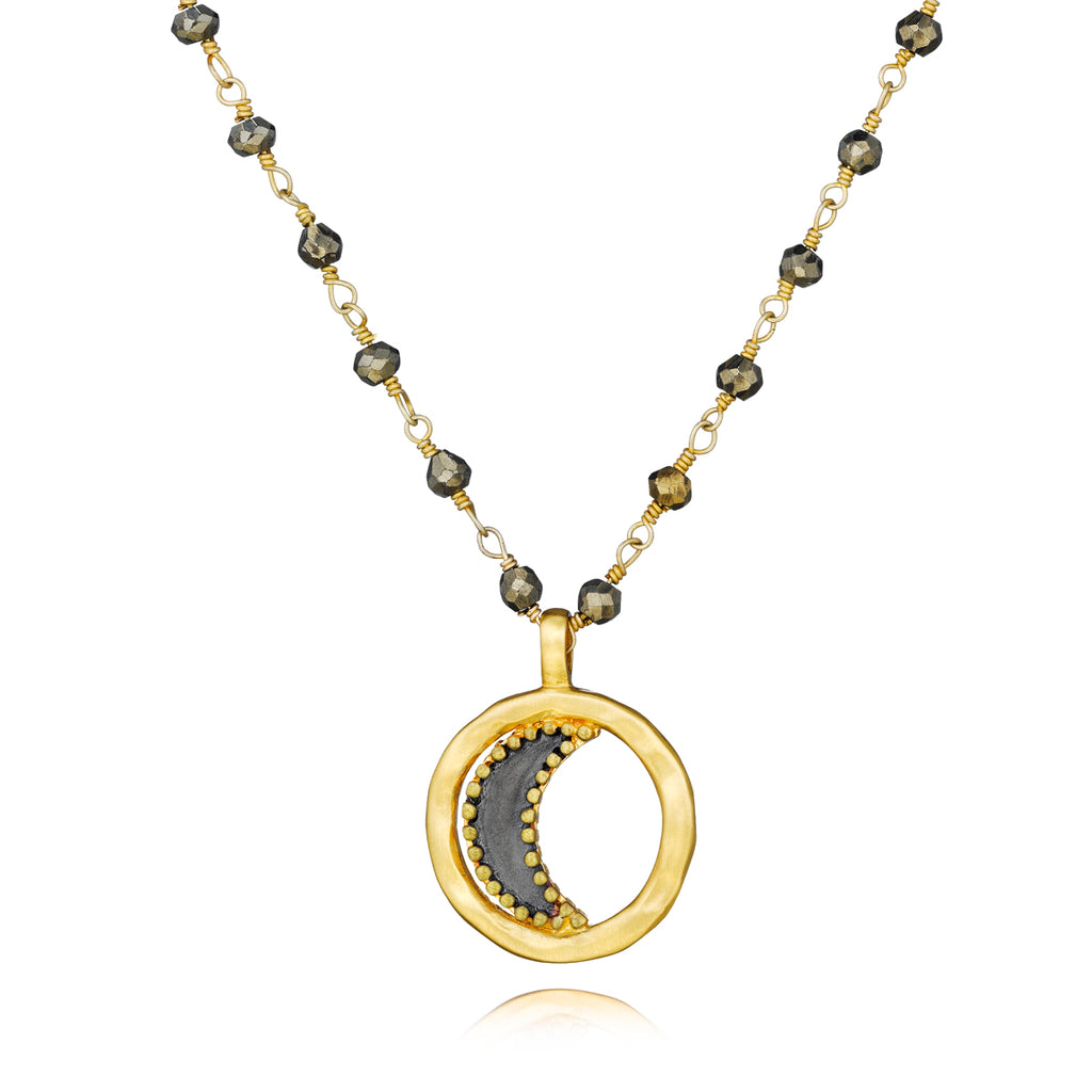 Gunmetal And Gold Pyrite Moon Necklace - Luminosity - Satya Jewelry