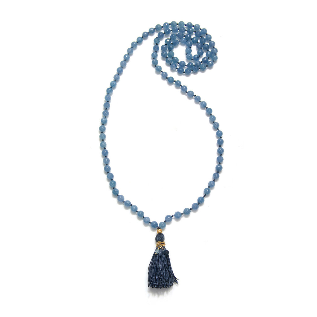 Mala Angelite and Blue Topaz - Many Truths