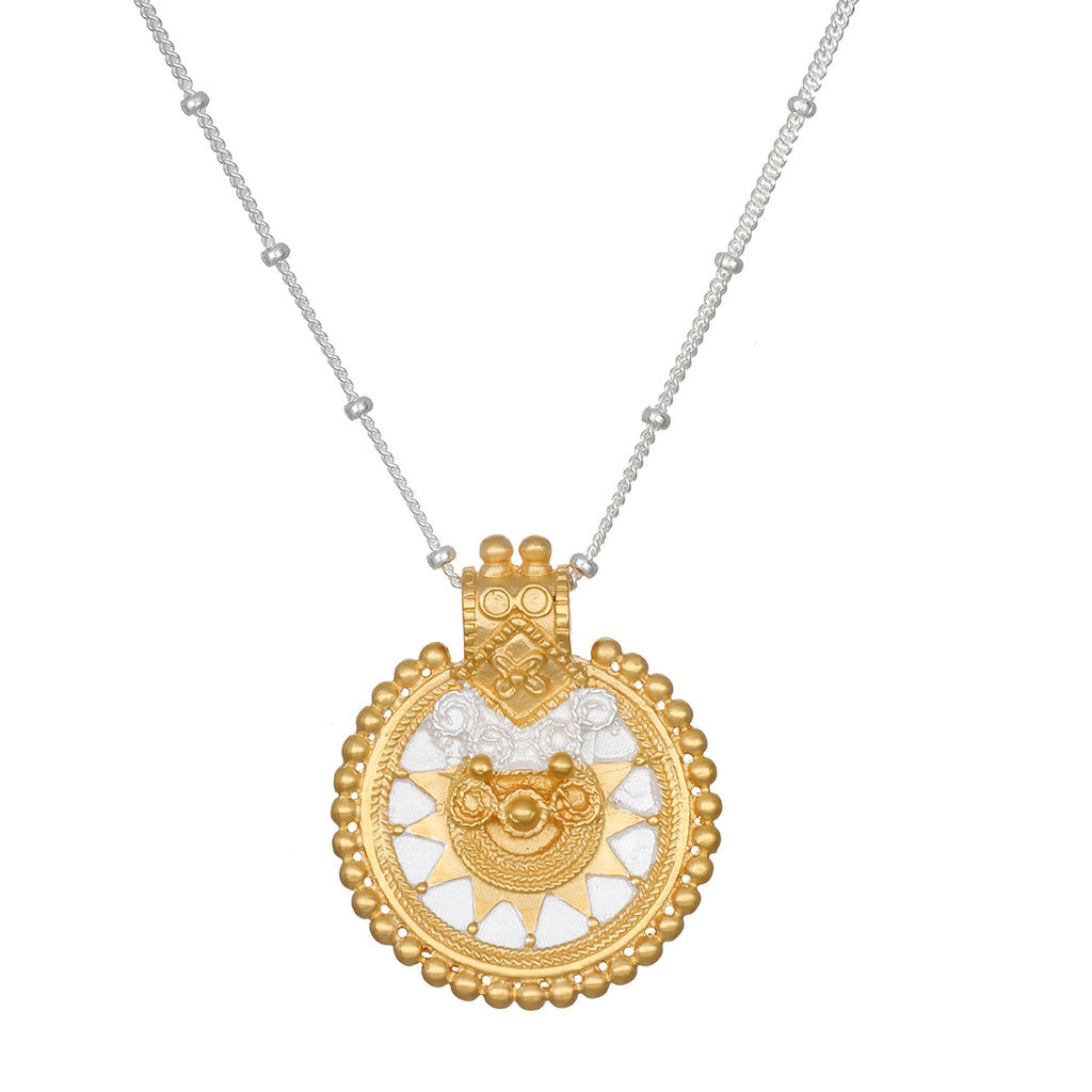 Sacred Silver & Gold Mandala Necklace - Satya Jewelry