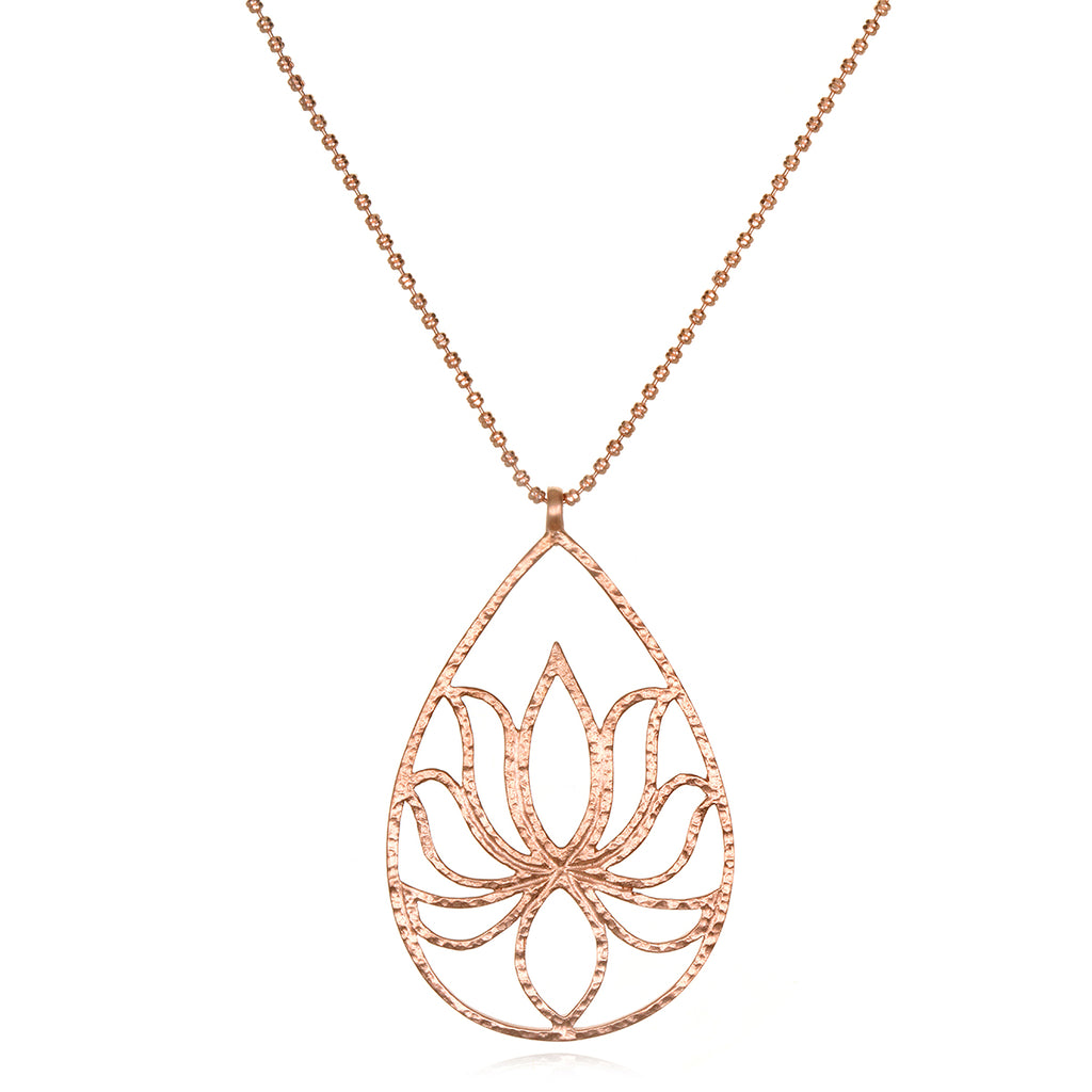 Teardrop Lotus Rose Gold Necklace