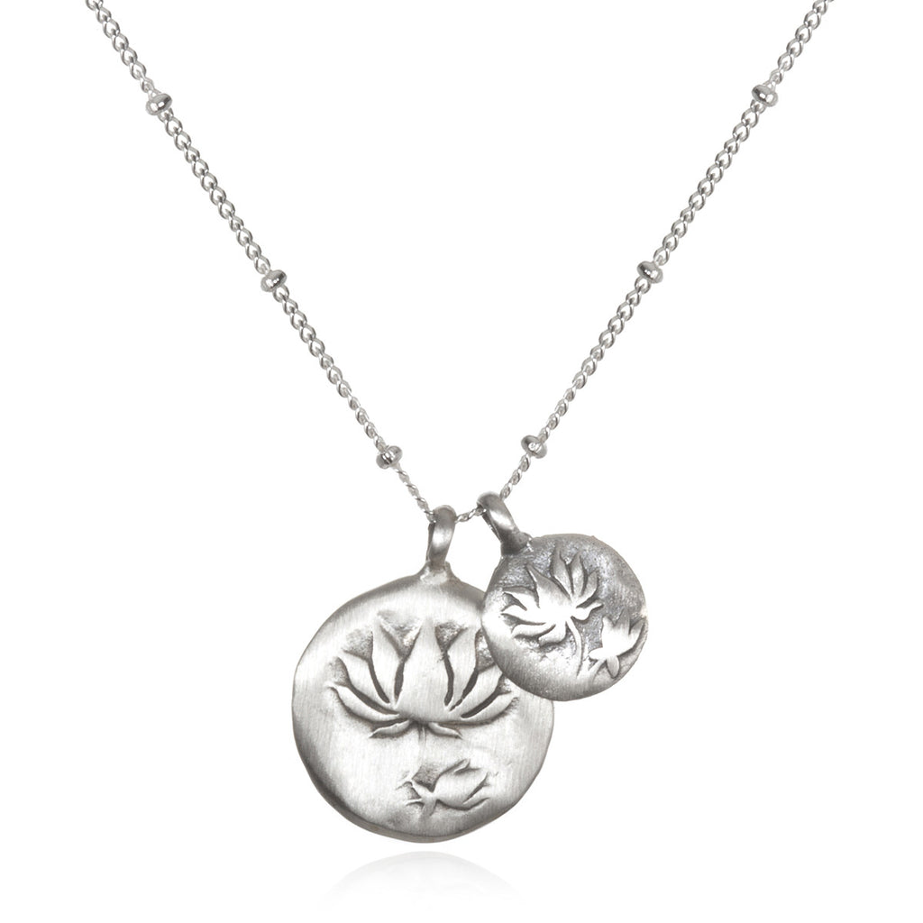Silver Lotus Necklace - Two Blooms - Satya Jewelry