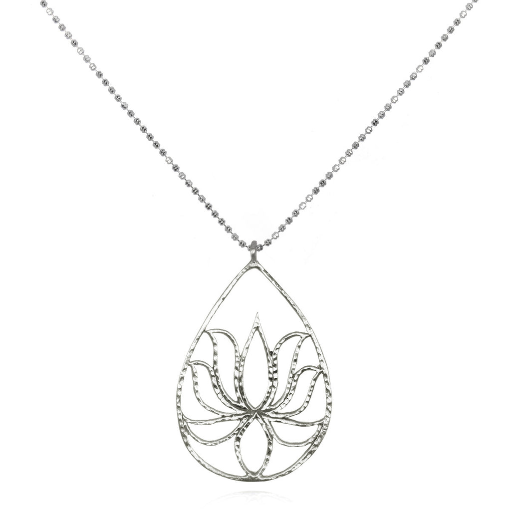 Silver Lotus Necklace - Teardrop Lotus - Satya Jewelry