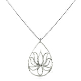 Silver Lotus Necklace - Teardrop Lotus