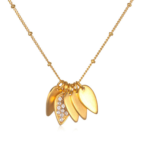 Gold Turquoise Lotus Necklace - Seashore