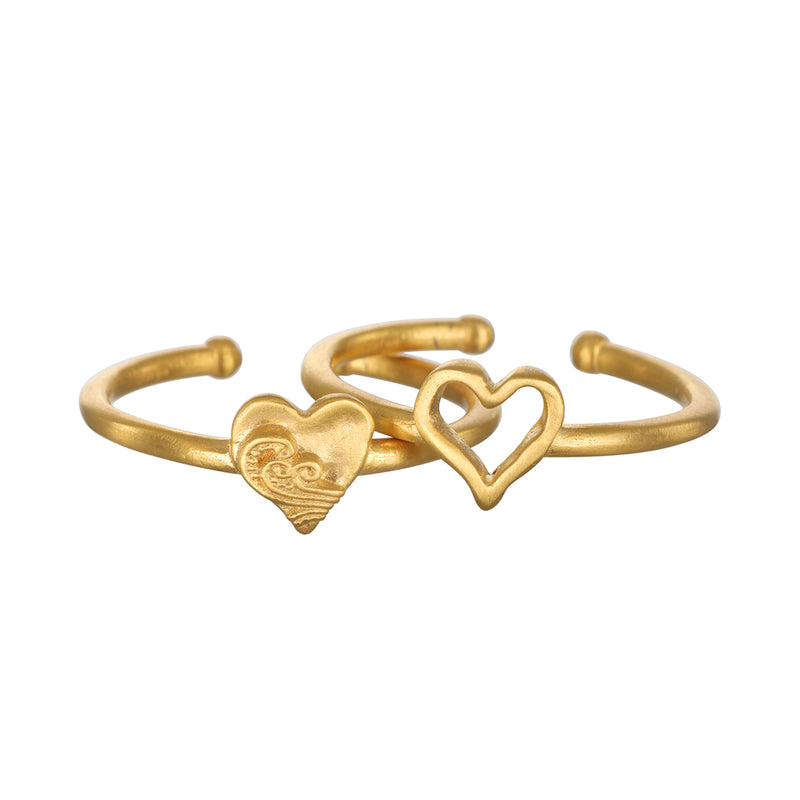 Two of Hearts Gold Ring Set - Satya Jewelry