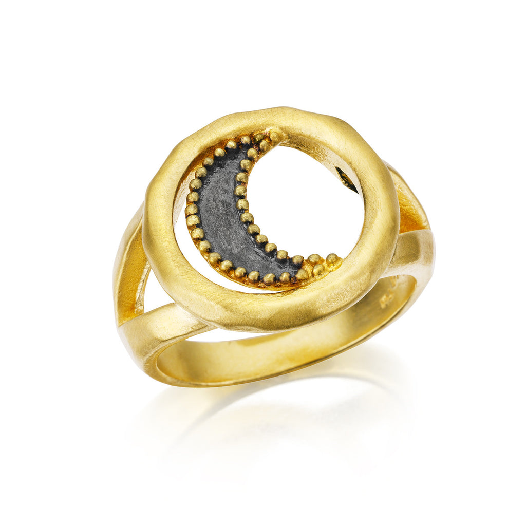 Gunmetal And Gold Moon Ring - Wax And Wane - Satya Jewelry