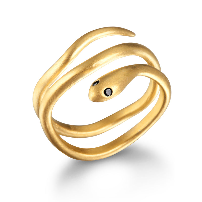 Gold Coils Black Spinel Ring - Satya Jewelry