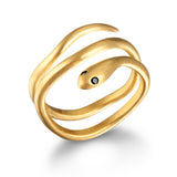 Gold Coils Black Spinel Ring
