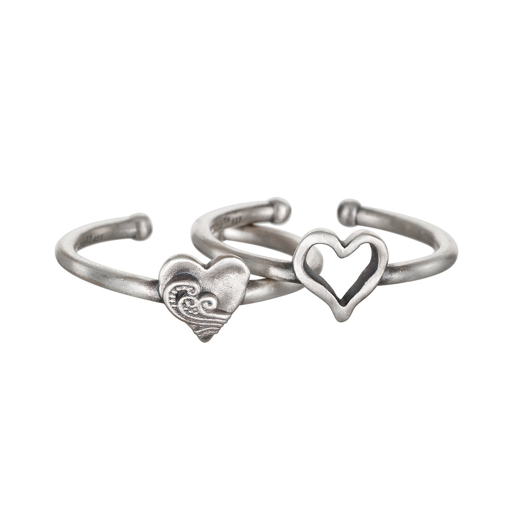 Two of Hearts Silver Ring Set - Satya Jewelry