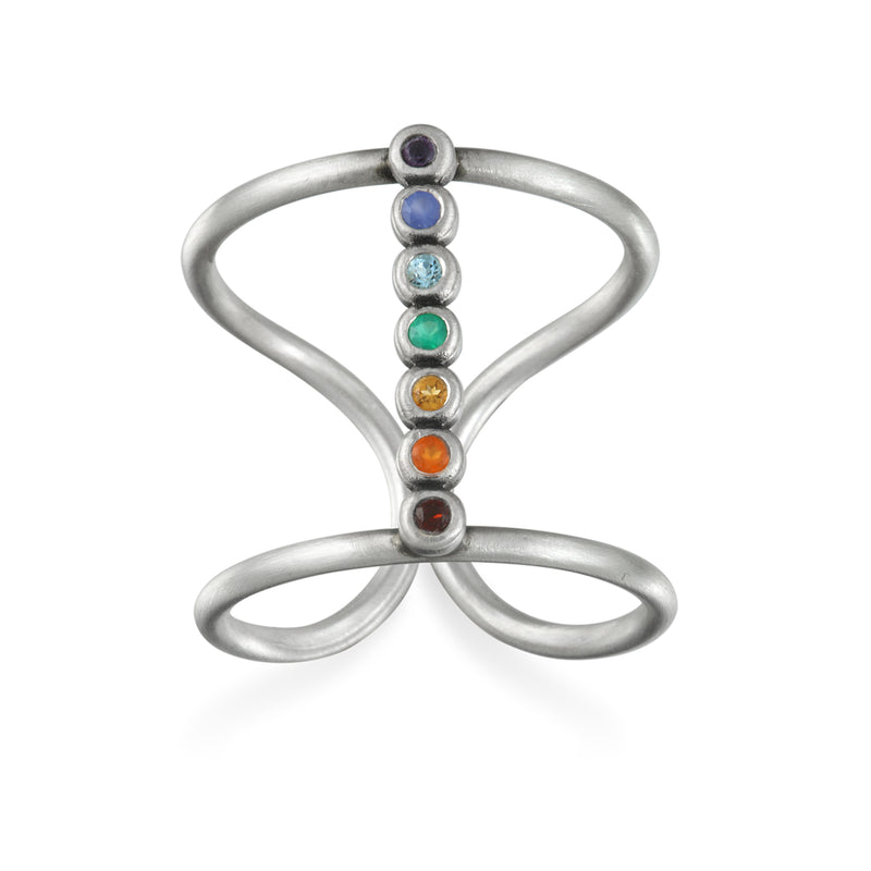 Divine Alignment Silver Chakra Ring - Satya Jewelry
