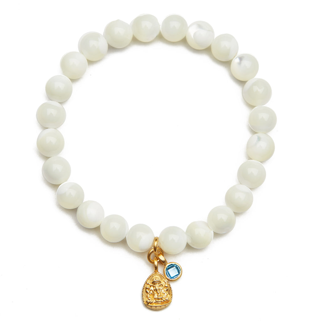 Ganesha Mother of Pearl Bracelet - Satya Jewelry