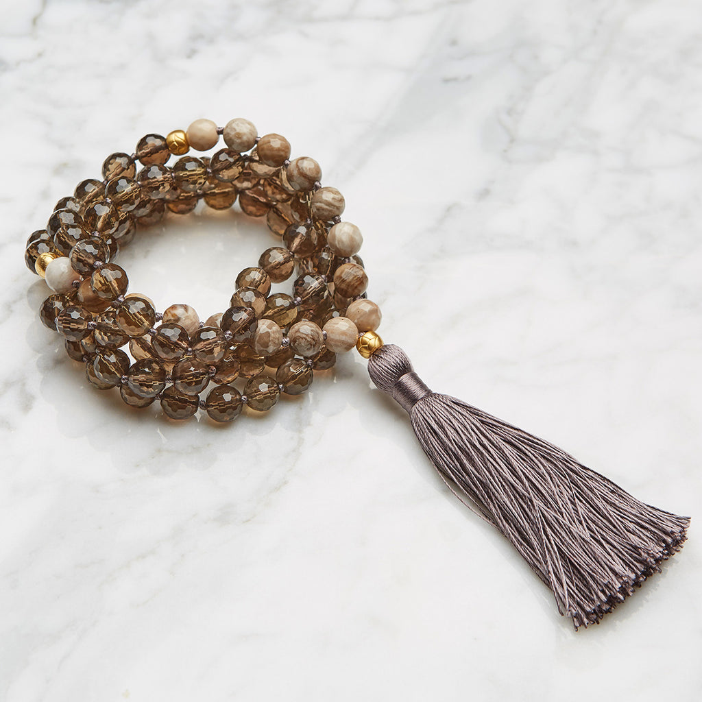 Lotus Smokey Silver Leaf Mala - Satya Jewelry