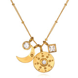 Sun And Moon White Topaz Necklace