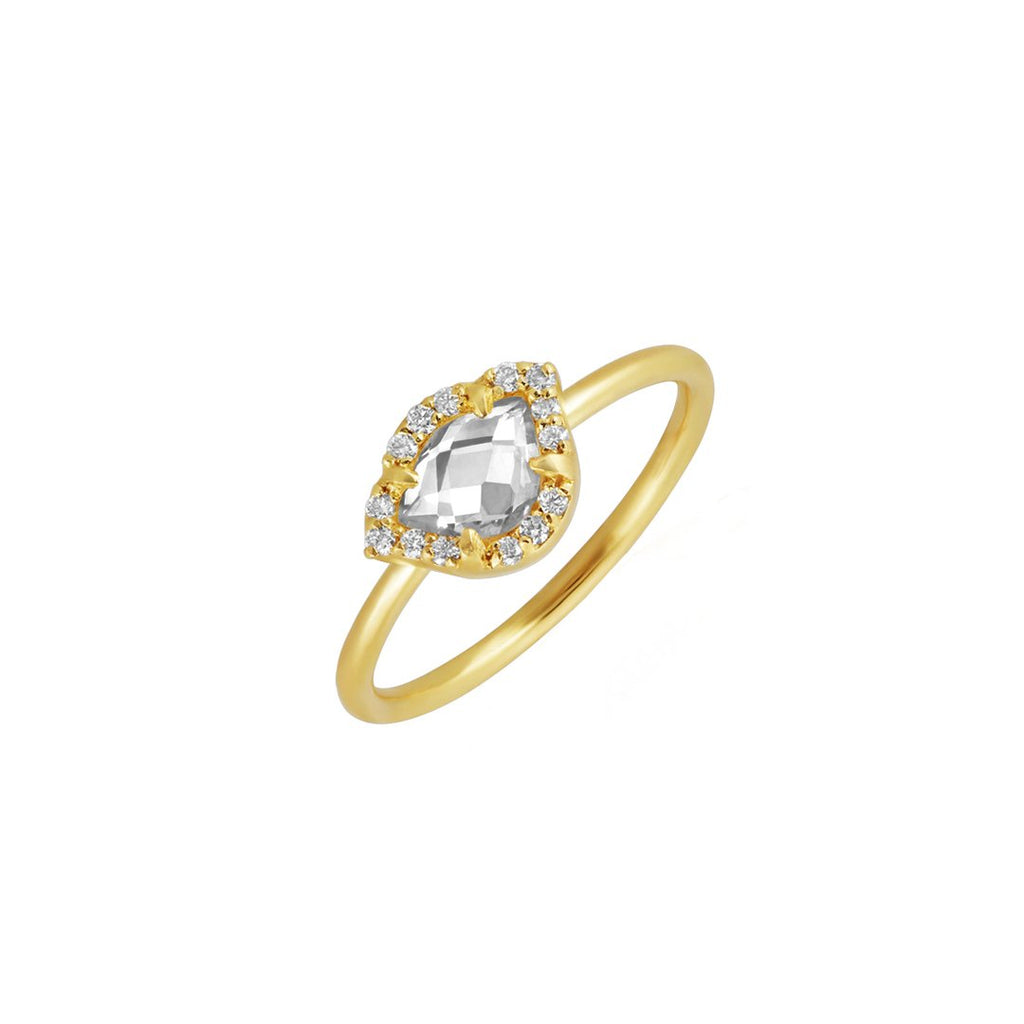 Creative Clarity  White Diamond and White Topaz Ring