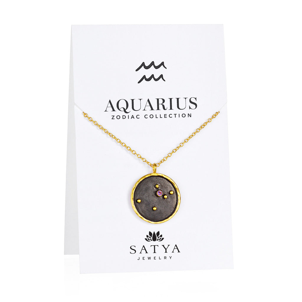 Aquarius Zodiac Necklace - Satya Online