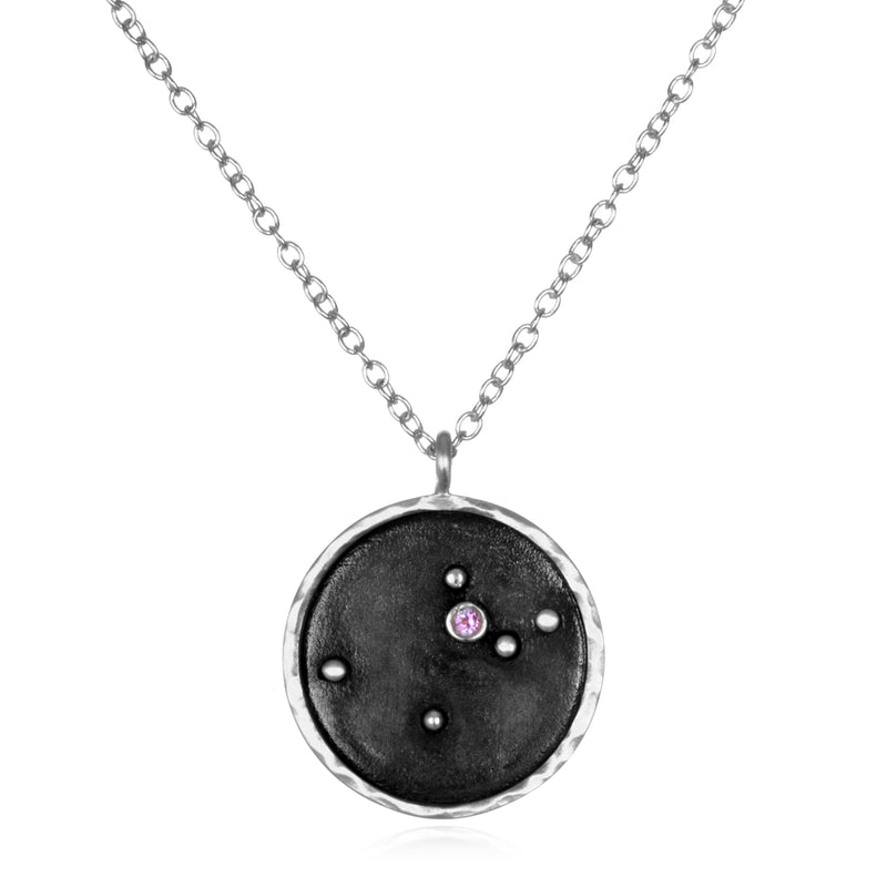 Silver Zodiac Aquarius Amethyst Necklace - Satya Jewelry