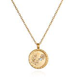 Pisces Zodiac Necklace Gold