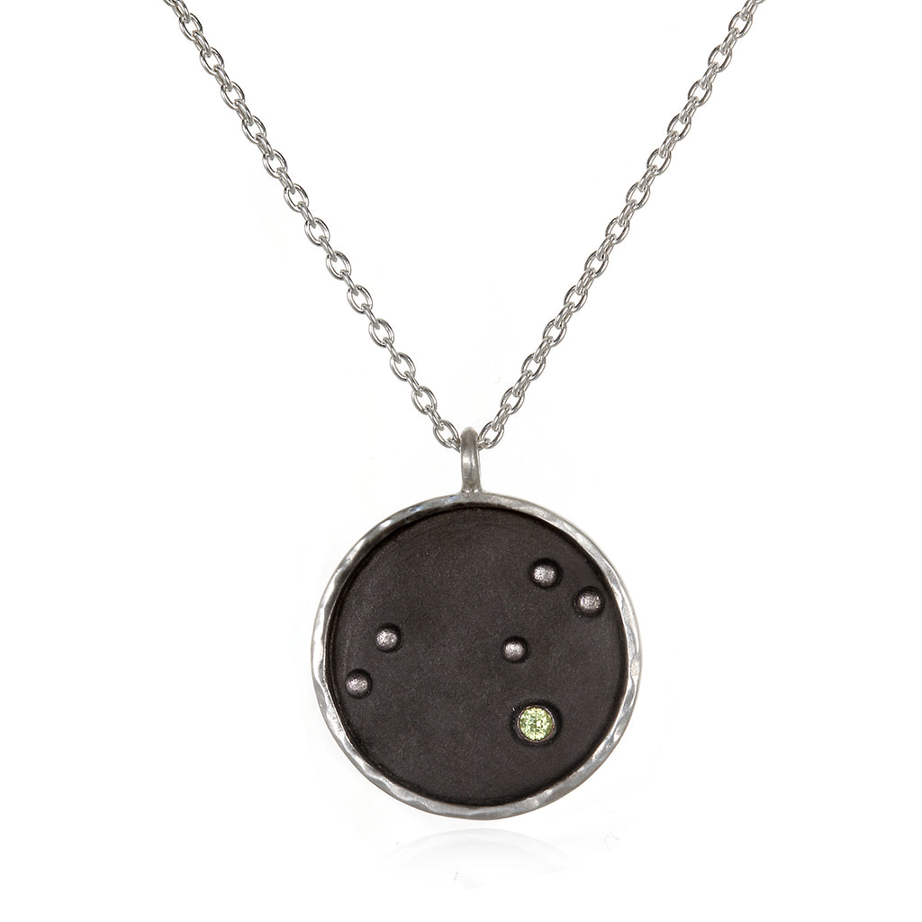 Silver Zodiac Leo Peridot Necklace - Satya Jewelry