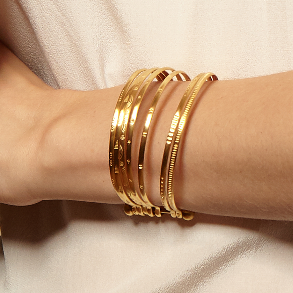Small Gold Bangle Bracelet Cuff - Something Special - Satya Online