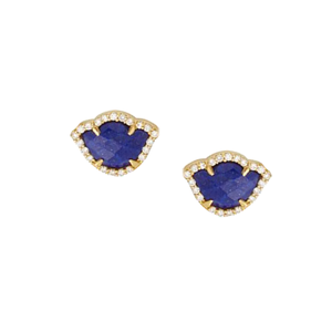 Bloom with Brilliance 18KT Lapis Diamond Earrings