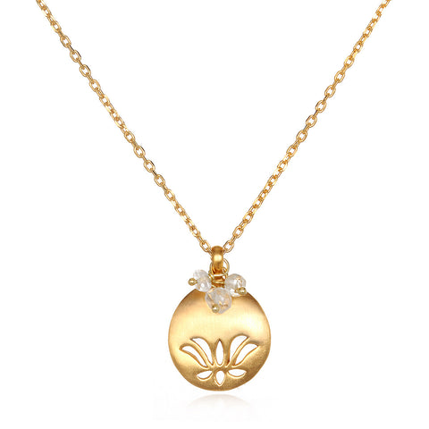 Lotus Birthstone Necklace - March