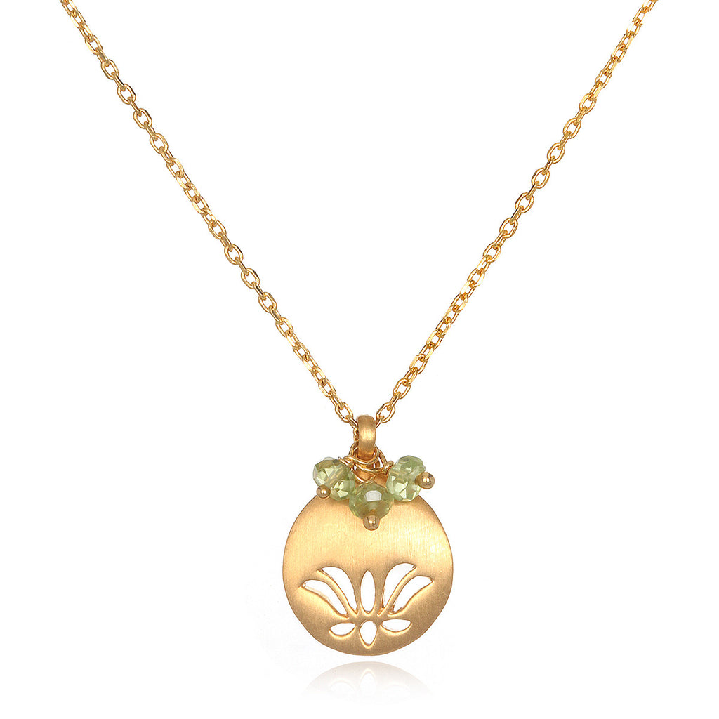 Lotus Birthstone Necklace - August - Satya Jewelry