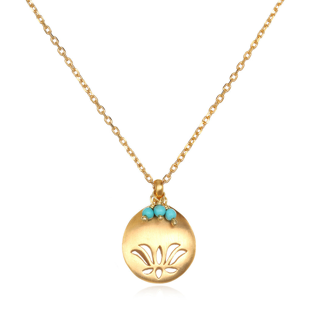 Lotus Birthstone Necklace -December
