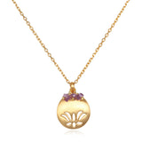 Lotus Birthstone Necklace - February - Satya Jewelry
