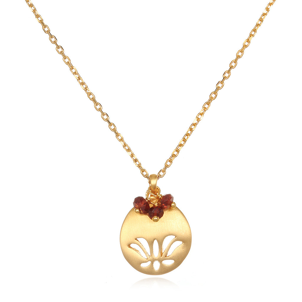 Lotus Birthstone Necklace - January - Satya Jewelry