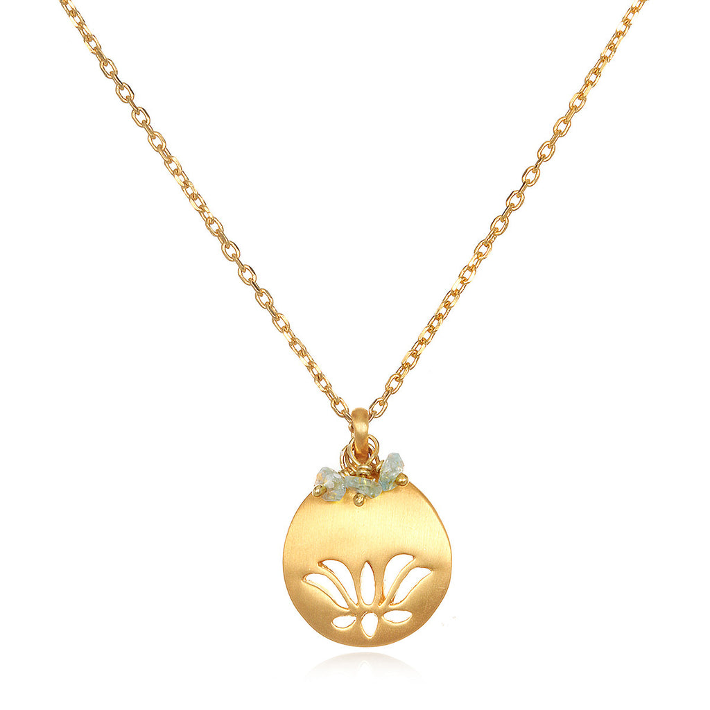 Lotus Birthstone Necklace - March - Satya Jewelry