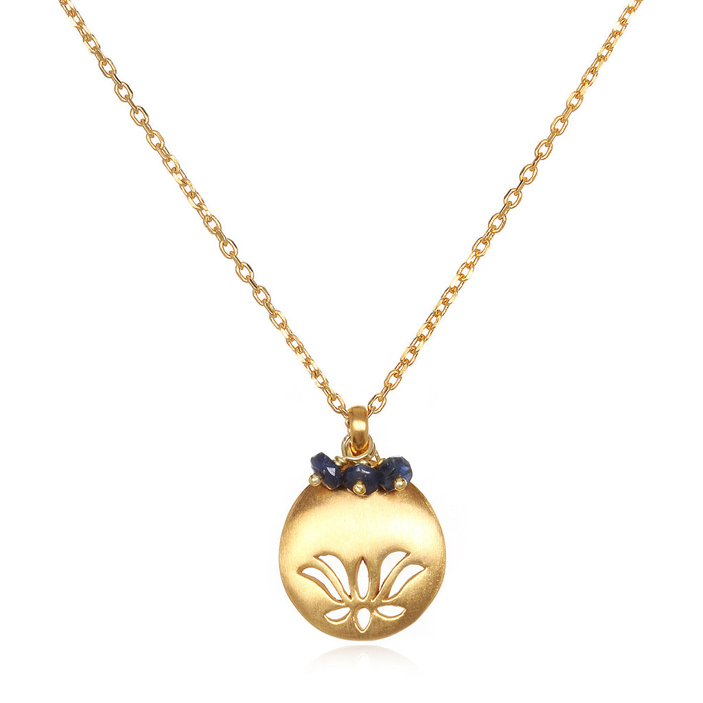 Lotus Birthstone Necklace -September - Satya Jewelry