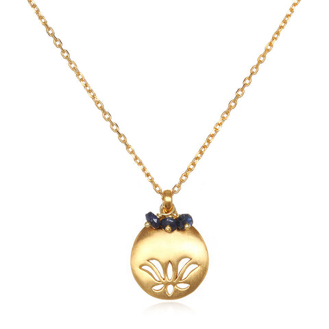 Blue Boundless Lotus Silver Necklace