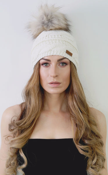 Ivory Merino Wool Beanie with Faux Fur Pom Pom