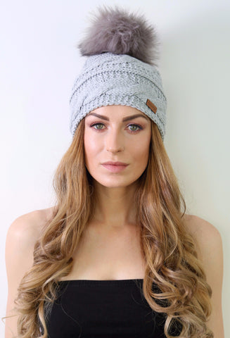 Grey Merino Wool Beanie with Faux Fur Pom Pom