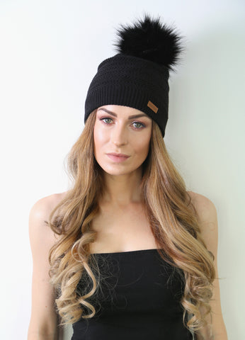 Squiggly Pattern Beanie with Faux Fur Pom Pom