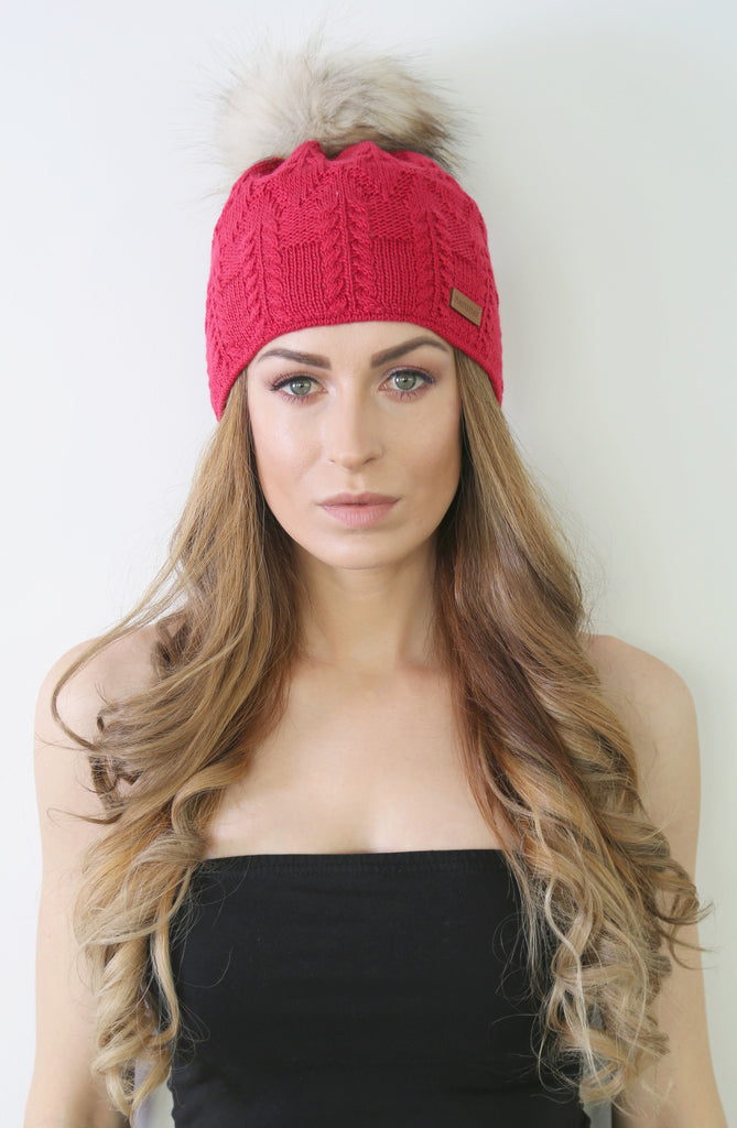 Red Crochet Beanie with Faux Fur Pom Pom