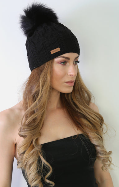 Black Crochet Beanie with Faux Fur Pom Pom