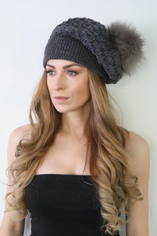 Slouchy Knit Beret with Faux Fur Pom Pom