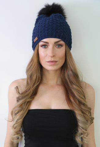 Merino Wool Beanie with faux fur pom pom