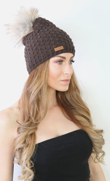 DSS Beanie with Faux Fur Pom Pom