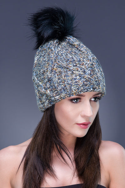 Beanie with Faux Fur Pom Pom - Haute Hat