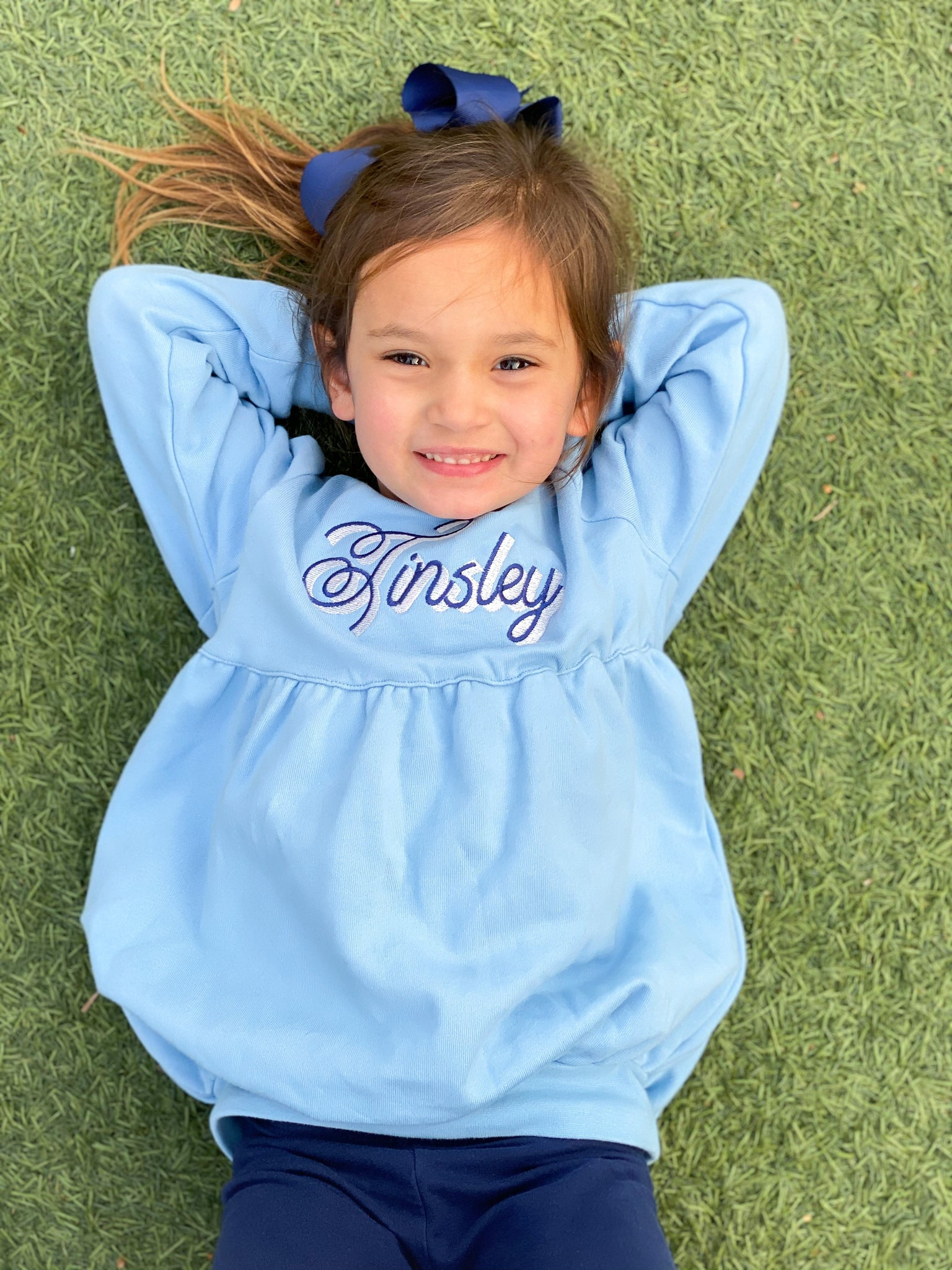 Girls' Bubble Sweatshirt Tunic in Light Blue