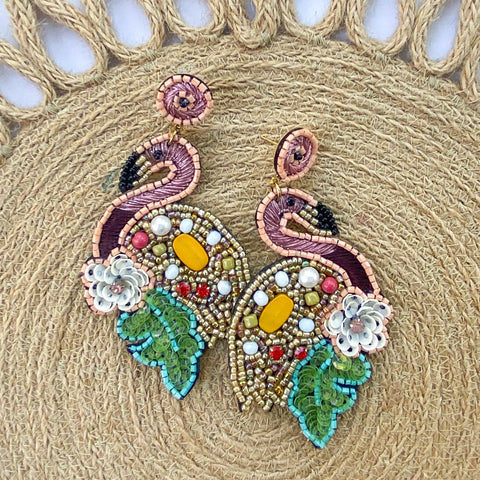 Floral Flamingo Earrings